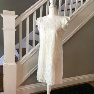 NWT WHBM White Flutter Sleeve Lace Dress